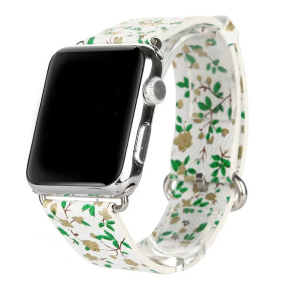 Classic buckle small flowers pattern floral band compatible with Apple Watch - Compatible with Apple watch bands and accessories