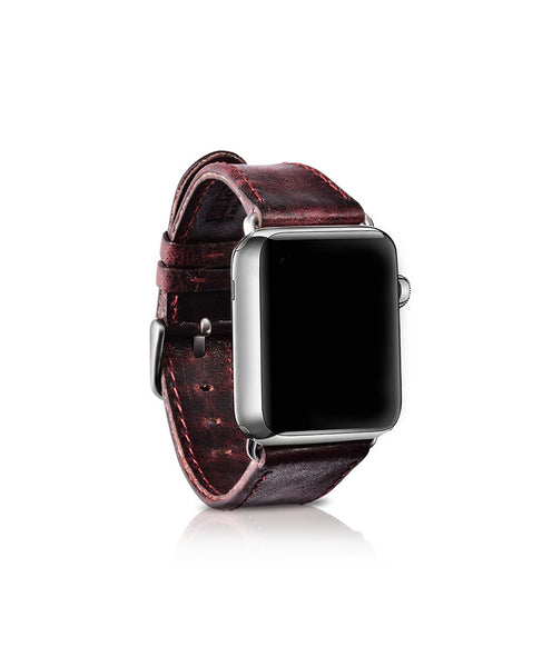 Classical genuine leather band with stainless steel closure and adapter, compatible with 38MM / 42MM Apple Watch - Compatible with Apple watch bands and accessories