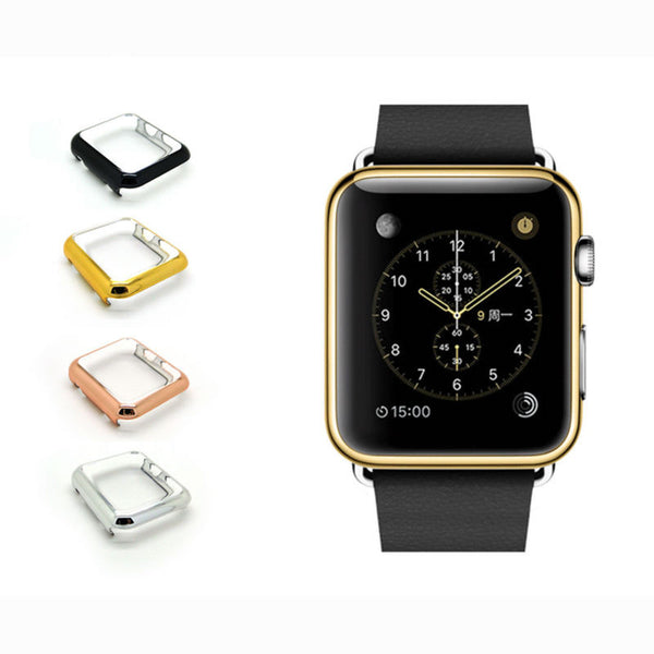 Metal electroplating case series 2 full cover shelter screen - Compatible with Apple watch bands and accessories