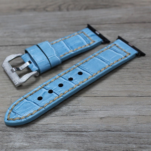 Men's Genuine Leather Watch Band with Classic Buckle compatible with Apple Watch - Compatible with Apple watch bands and accessories