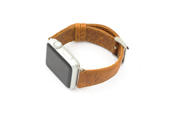 Handmade Vintage Apple Watch Band genuine horse leather strap with adapters coffee brown - Apple watch bands and accessories