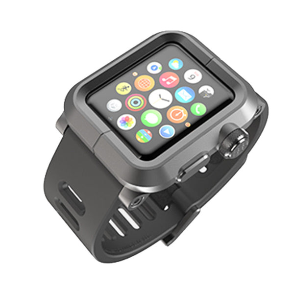 Case/Silicone band with aluminium alloy case and metal clasp - Compatible with Apple watch bands and accessories
