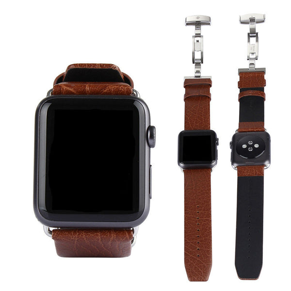 Sport/standard genuine leather strap with deployment buckle black/brown 42mm for Apple Watch - Apple watch bands and accessories