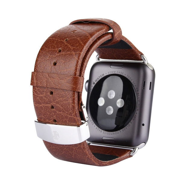 Sport/standard genuine leather strap with deployment buckle black/brown, compatible with Apple Watch - Compatible with Apple watch bands and accessories