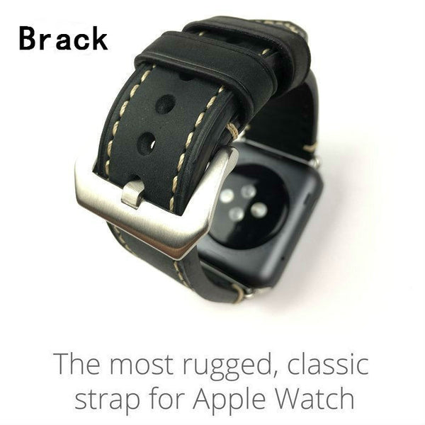 Retro leather strap compatible with Apple Watch - Compatible with Apple watch bands and accessories
