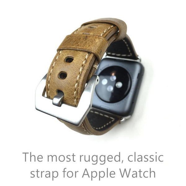 Retro oil wax leather band compatible with 42MM Apple Watch - Compatible with Apple watch bands and accessories