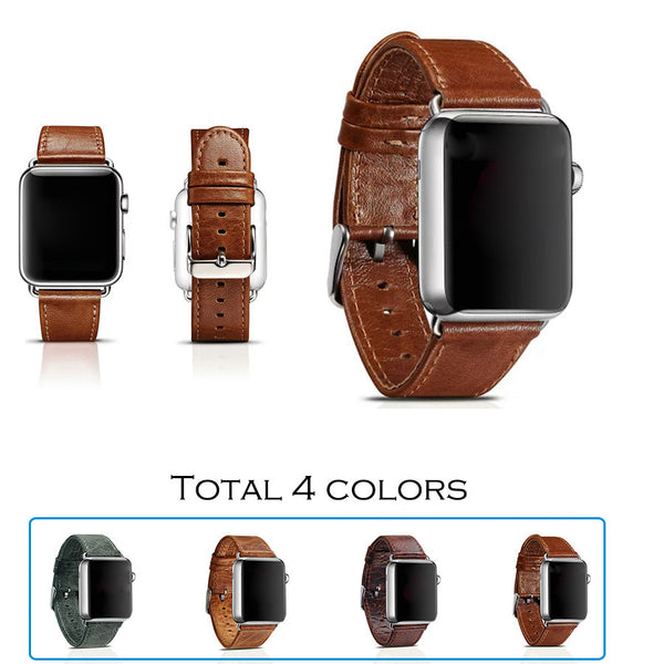 Classic genuine leather band, with stainless steel closure and adapter, compatible with Apple Watch - Compatible with Apple watch bands and accessories