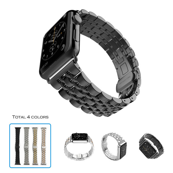 Apple watch strap wrist 316L stainless steel link bracelet 7 columns butterfly buckle - Apple watch bands and accessories