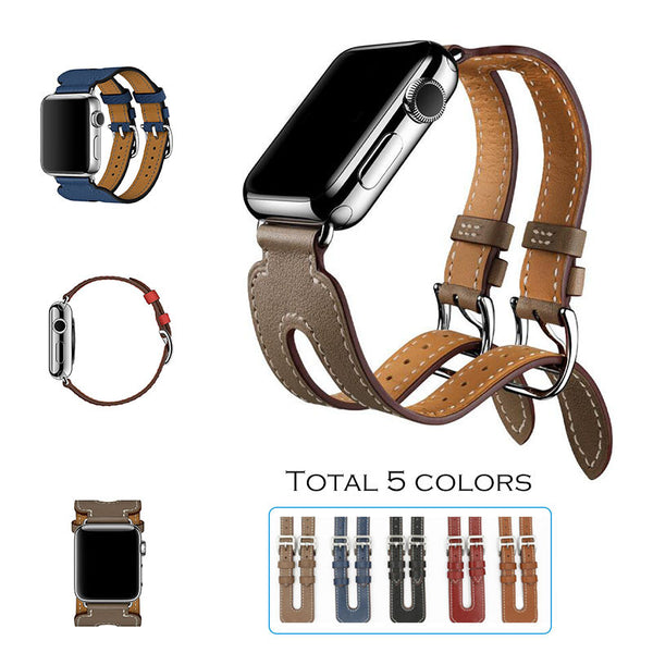 Leather strap double buckle cuff modern design - Compatible with Apple watch bands and accessories