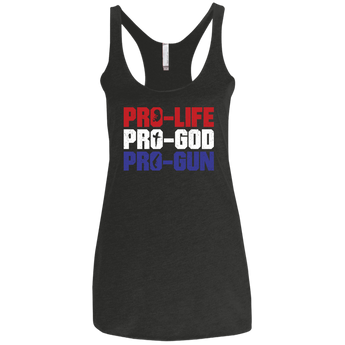 PRO LIFE GOD GUNS WomensTriblend Racerback Tank