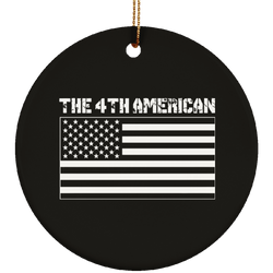 4th American Flag Ceramic Christmas Ornament