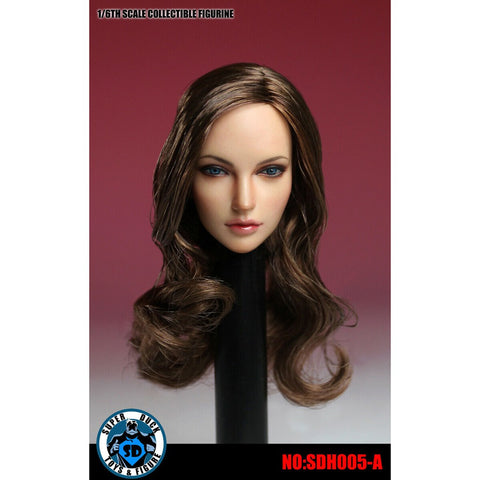 SUPER DUCK: SDH005-A Long Wavy Brown Hair Female Head