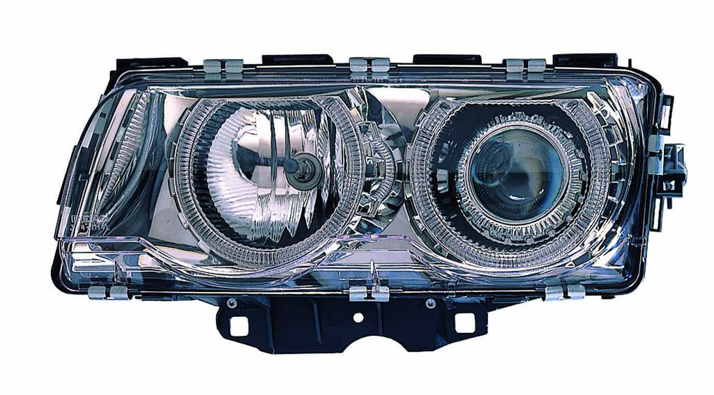BMW 7 Series 99-01 Headlight Assembly Halogen Projector Chrome With ANGEL EYES - ackauto
