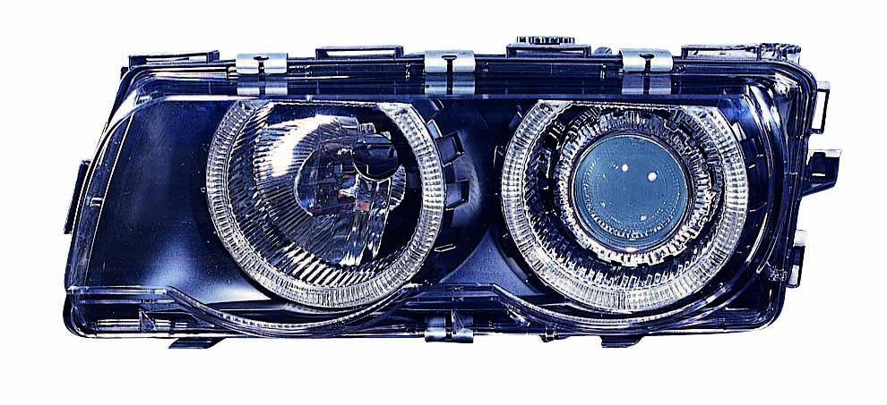 BMW 7 Series 99-01 Headlight Assembly XENON Projector Black With ANGEL EYES Set - ackauto