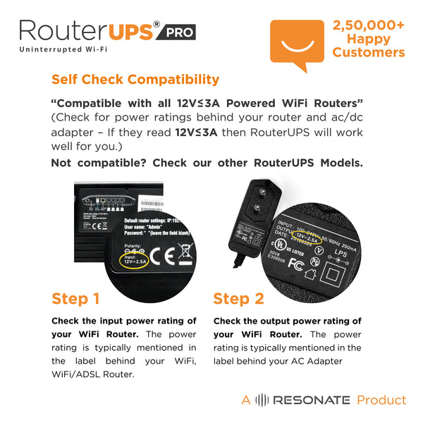 RouterUPS Pro (12V, <= 3A) - 6 Hour Power Backup for WiFi Router,  Cordless Phone, Set Top Box, CCTV Camera , IoT Devices - Compatible with all 12V, <=3A rated Routers
