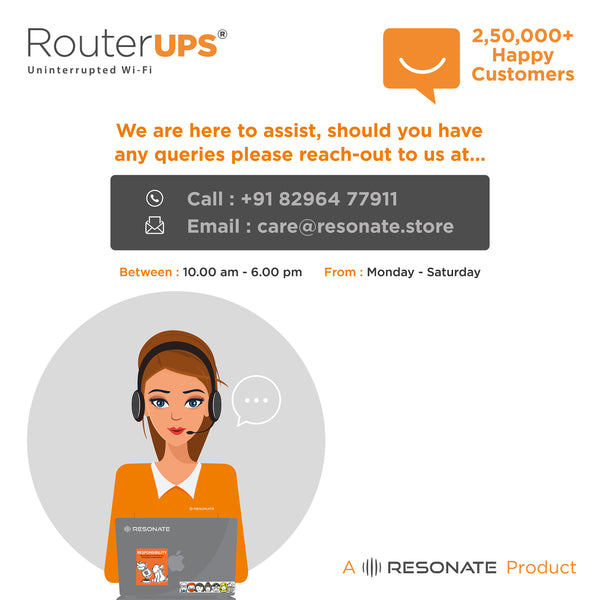 RouterUPS CRU9V - 4 Hour Power Backup, Mini UPS for WiFi Router, Compatible with all 9V, <=1A rated Routers