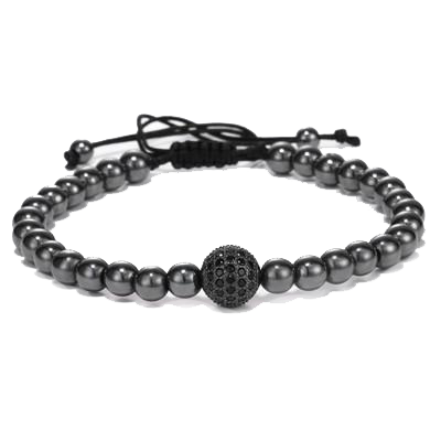 Black - 6MM Titanium Steel Beads Round Zircon Bracelet