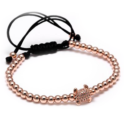 Rose Gold Plated 4MM Beads Micro Pave CZ turtle Bracelet