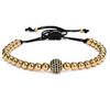 Gold - 6MM Titanium Steel Beads Round Zircon Bracelet
