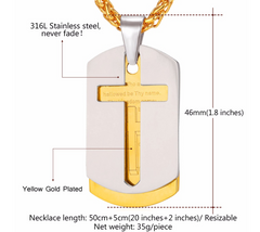 Gold Plated Cross Bible Lords Necklace Pendant