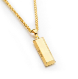 "Gold ""SuperMe"" Cube Bar Necklace"