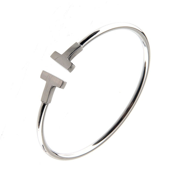 White Gold - Stainless Steel gold plated Bracelet Cuff