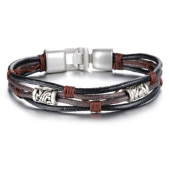 Silver Plated Retro Leather Bracelet
