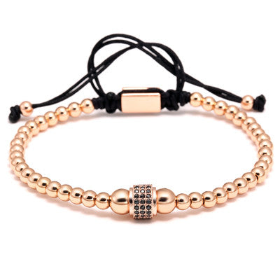 Rose Gold - Luxury Gold Plated Stoppers Macrame Bracelet