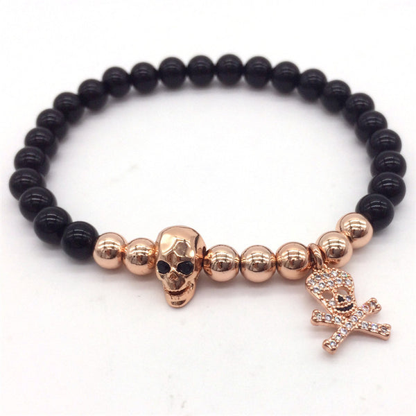 Rose Gold Skull Bracelet Pirates Pendant Agate
