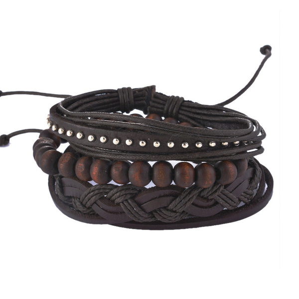Black Bamboo Leather Bracelet Set
