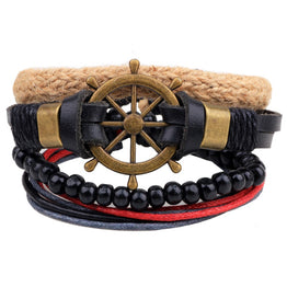 Wheel Leather Bracelet Set