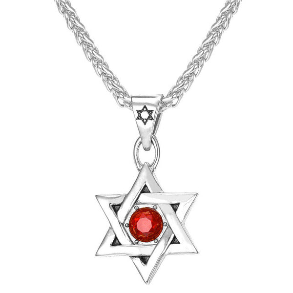 Red Crystal Steel Magen Star of David Pendant Necklace