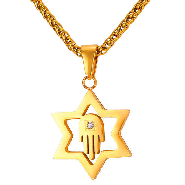 Hand Gold Magen Star of David Pendant Necklace