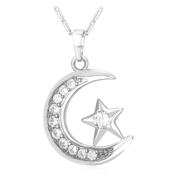 Silver - Muslim Crescent Pendant Necklace