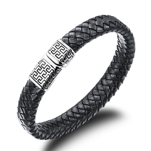 Silver LP Stainless Steel Leather Bracelet
