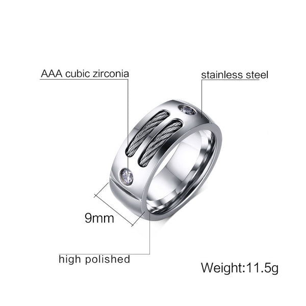 Stainless Steel With Wire Cubic Zirconia Ring