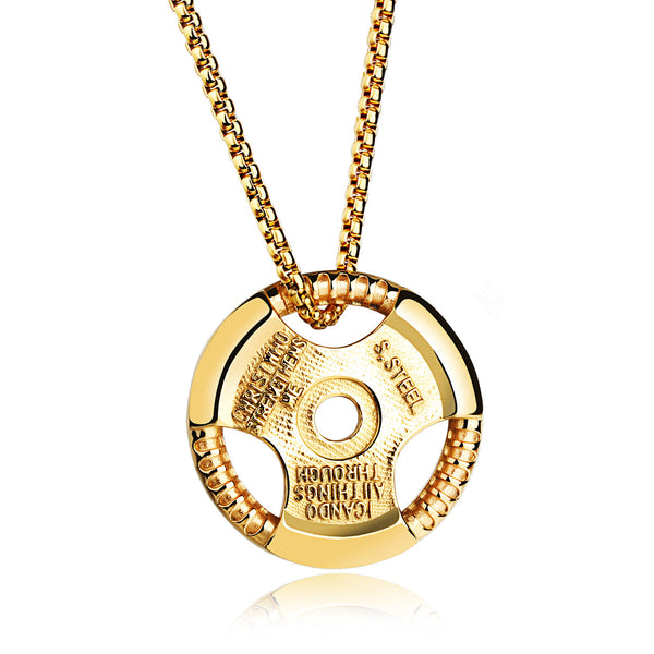 Gold Car Steering Wheel Force Fitness Necklace