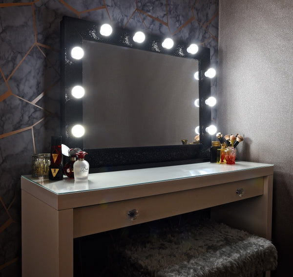 "Hollywood Sparkle Mirror 36""x26"" - Black"