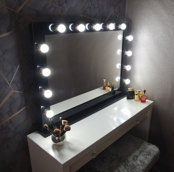 Black & Rose Gold Hollywood Mirror With Stand