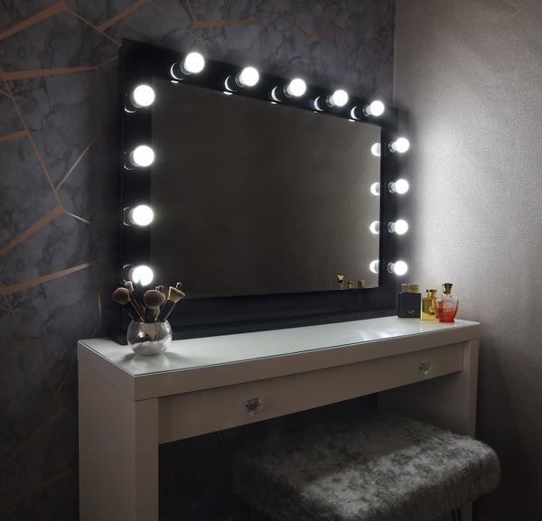 Black & Chrome Hollywood Mirror With Stand