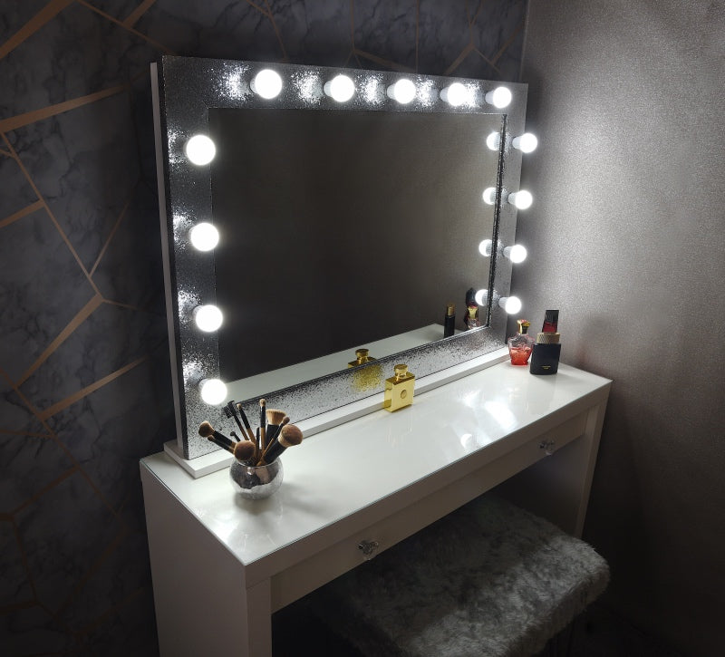 "Hollywood Sparkle Mirror 42""x30"" - Silver"