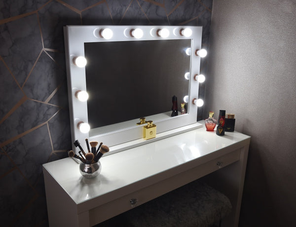 White & Rose Gold Hollywood Mirror With Stand