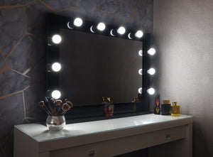 "Hollywood Mirror 36""x26"" With Stand - Black"