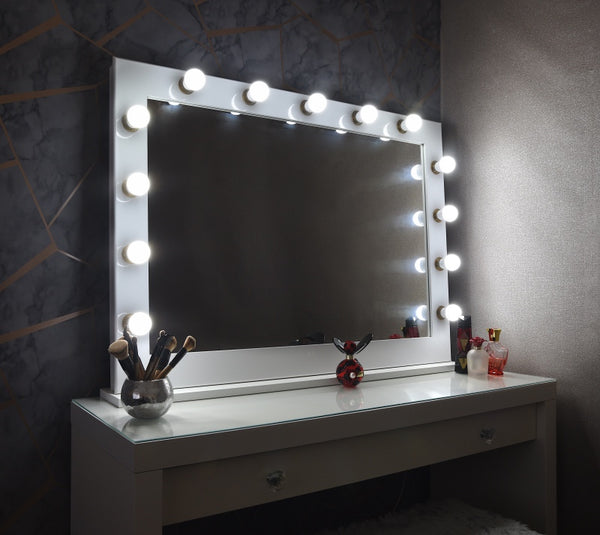 White & Gold Hollywood Mirror With Stand