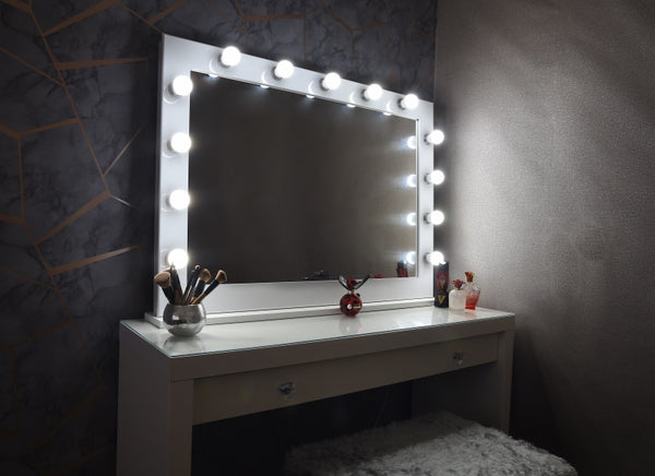 White & Chrome Hollywood Mirror With Stand