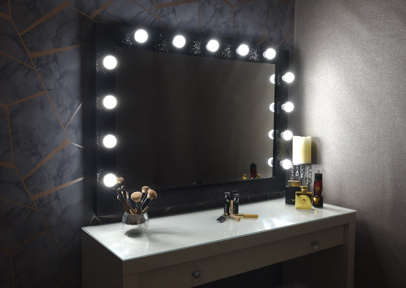 "Hollywood Sparkle Mirror 42""x30"" - Black"