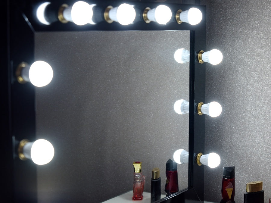 Hollywood Glow Black Amp Gold Vanity Mirror Wall Mounted Made In The