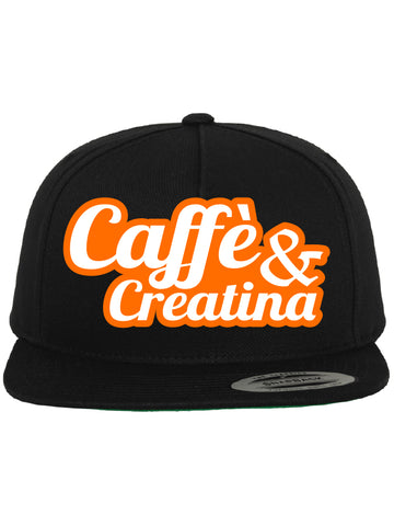 Caffè e Creatina - Script Snapback Cap - Black/Neon Orange/White
