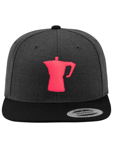 Caffè e Creatina - Big Moka Snapback Cap - Heather Dark Grey/Neon Pink