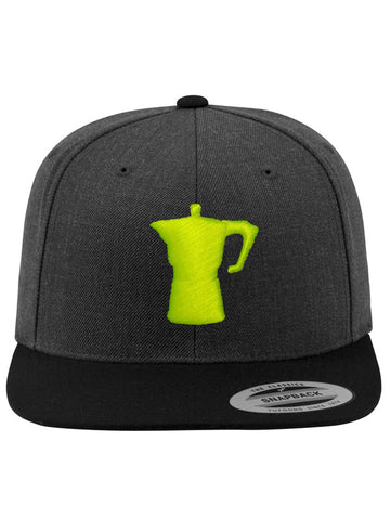 Caffè e Creatina - Big Moka Snapback Cap - Heather Dark Grey/Neon Yellow